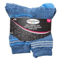 Wear Proof Girls 4 Pack Thermal Crew Socks Size 7-9
