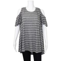 Cold Shoulder Knit Tunic Grey