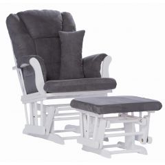 Storkcraft Tuscany Glider and Ottoman White Wood And Gray Cushion