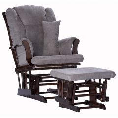 Storkcraft Tuscany Glider and Ottoman Espresso Wood And Gray Cushion
