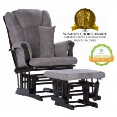 Storkcraft Tuscany Glider and Ottoman Black Wood And Gray Cushion