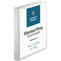 Business Source 1 Inch D Ring View Binder White