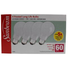 Sunbeam A19 Soft White 60 Watts Frosted Long Life Bulbs 4 Pack