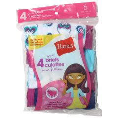 Hanes Girls Tagless Briefs Size 6 4Pk Assorted