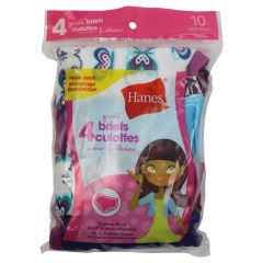 Hanes Girls Tagless Briefs Size 10 4Pk Assorted