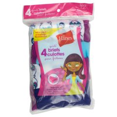 Hanes Girls Tagless Briefs Size 12 4Pk Assorted