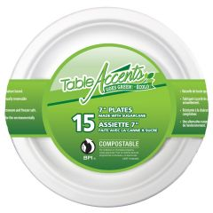 Table Accents Goes Green Compostable 7in Plates 15Pk White