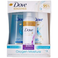 Dove Oxygen Moisture Shampoo and Conditioner 3 Piece Gift Set