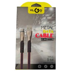 KLGO USB Flat Metal Data Cable Fast Charging Cable 2.4A