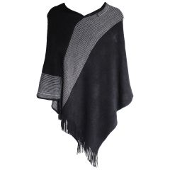 Guilty Knitwear Ladies Poncho with Fringed V-Neck Striped Black