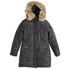 Exploration Women's Hooded Parka With Removable Trim Black