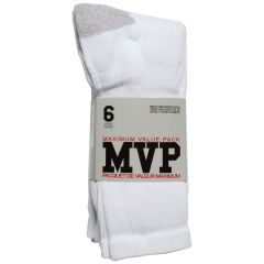 MVP Men's Crew Sports Socks 6 Pk White