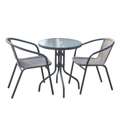 Steel Rattan Glass Table Set and Chairs