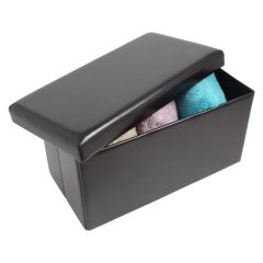 Rectangle Storage Ottoman Black 30in