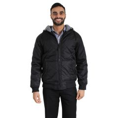 Quilted Oxford Bomber Jacket With Hood Black