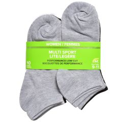 Women's No Show Socks 10 Pack Grey 9-11