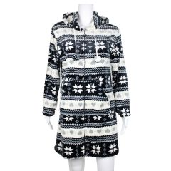 Women's Hooded Robe Cozy Pom-pom Zip-Front Lounge Wear