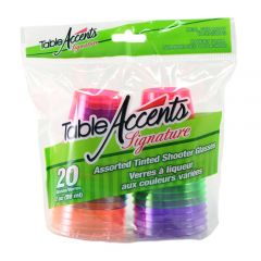Table Accents Tinted Shooter Glasses Assorted 2 oz 20 Pk