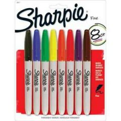 Sharpie Permanent Markers Fine Point Assorted 8 Pk
