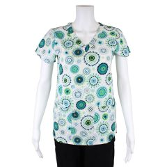 Green Town Printed Ladies Scrub Top