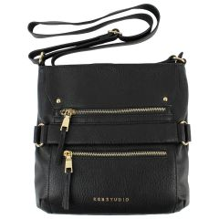KGB Studio Cross Body Bag With Zippers Black