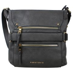 KGB Studio Cross Body Bag With Zippers Grey
