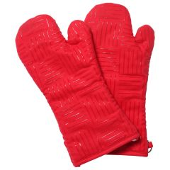 Fresh Ingredients Oven Mitt with Silicone Grips Red