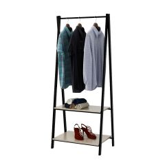 Hang Rail Coat Rack With 2 Shelves