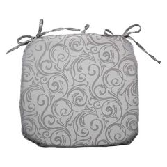 Home Essentials Jacquard Swirl Tie Down Chair Pad Grey