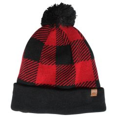 Great Northern Buffalo Plaid Sherpa Lined Pom Toque