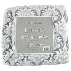 Oversized Luxury Flannel Throw 50 X 70 Inches, Summer Grey