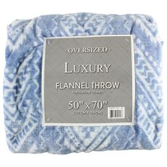 Oversize Luxury Flannel Throw Light Blue 50 X 70in