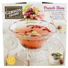 Gibson Home Punch Time Punch Bowl with Cups