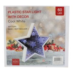 Plastic Xmas Star Light With Cool White Decor 60 LED 29 cm