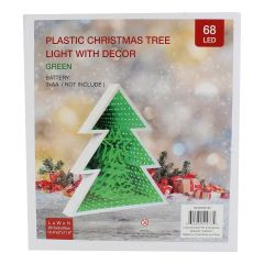 Plastic Christmas Tree Light With Decor Green 68 LED 30 cm