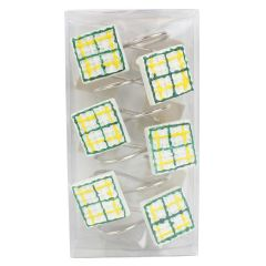 Plaid Shower Curtain Hooks 12Pk