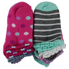 Girls 12 Pack No Show Print Socks 4-6