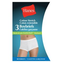 Hanes Cotton Stretch Boy shorts Boy briefs Panties 3 Pk Medium