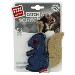 Gigwi Catch & Scratch Jean Squirrel Cat Toy