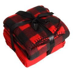 Colour Your Home Plaid Throw Red 2Pk
