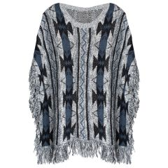 Womens Plus Size Fringe Poncho