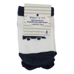 Brightstar Baby Boy Low Cut Socks Assorted Colors 4 Pk 6-12m