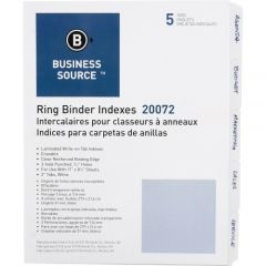 Business Source 3-Ring 5-Tab Erasable Tab Indexes Letter size 5 Pack White