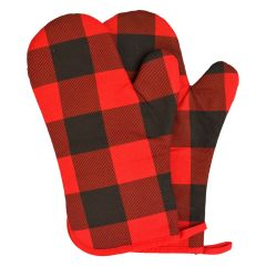 Buffalo Plaid Oven Mitt Red
