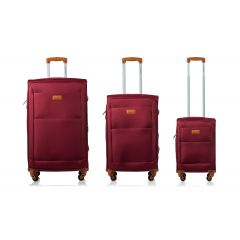 Champs Classic Collection 3 Piece Soft Side Luggage Red