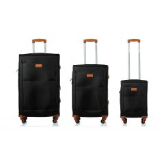 Champs Classic Collection 3 Piece Soft Side Luggage Black