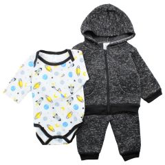 Comey Isle New Born 3 Piece Hoody Bodysuit Jogger Set