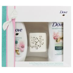 Dove Pistachio Magnolia Gift Set with Decorative Tealight Holder
