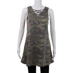 Exist Tank Style Skater Dress Camouflage