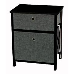 Casa Décor 2 Drawer Storage Cabinet Black